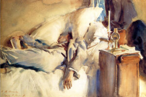 John Singer Sargent asleep reading